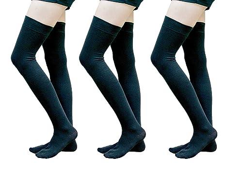 5f545045869 AM Landen True Cotton Medium size Black 3 pairs Thigh High Over Knee Socks