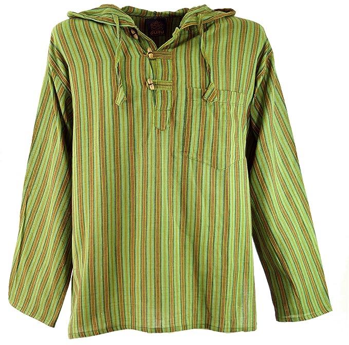 GURU-SHOP, Camisa Nepal, Sudadera Hippie Goa - Verde, Algodón, Sudaderas Sudaderas con Capucha: Amazon.es: Ropa y accesorios