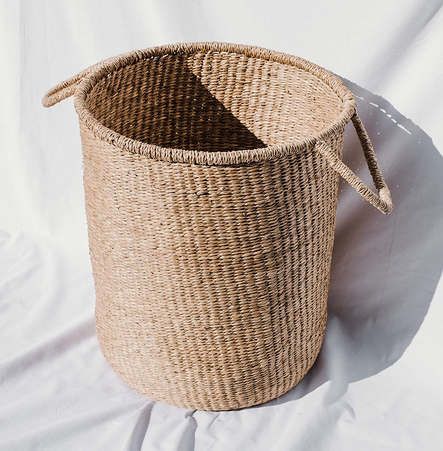 The Jolie Market Cannes Storage Basket- Bohemian Seagrass Wicker Round Storage Basket with Handles- Home Decor, Storage, Housewarming Gift, 100% Eco-Friendly