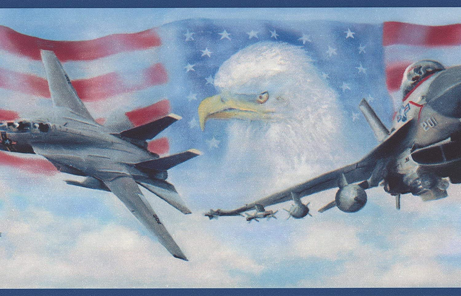 Usa Air Force Jet Fighters American Flag Bald Eagle Patriotic