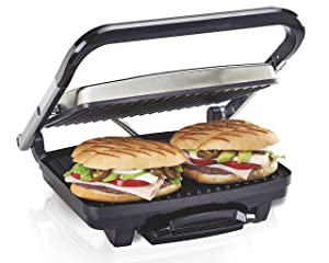 "Hamilton Beach (25410) Panini Press, Sandwich Maker & Grill, Electric, 95"" Cooking Surface, Stainless Steel"