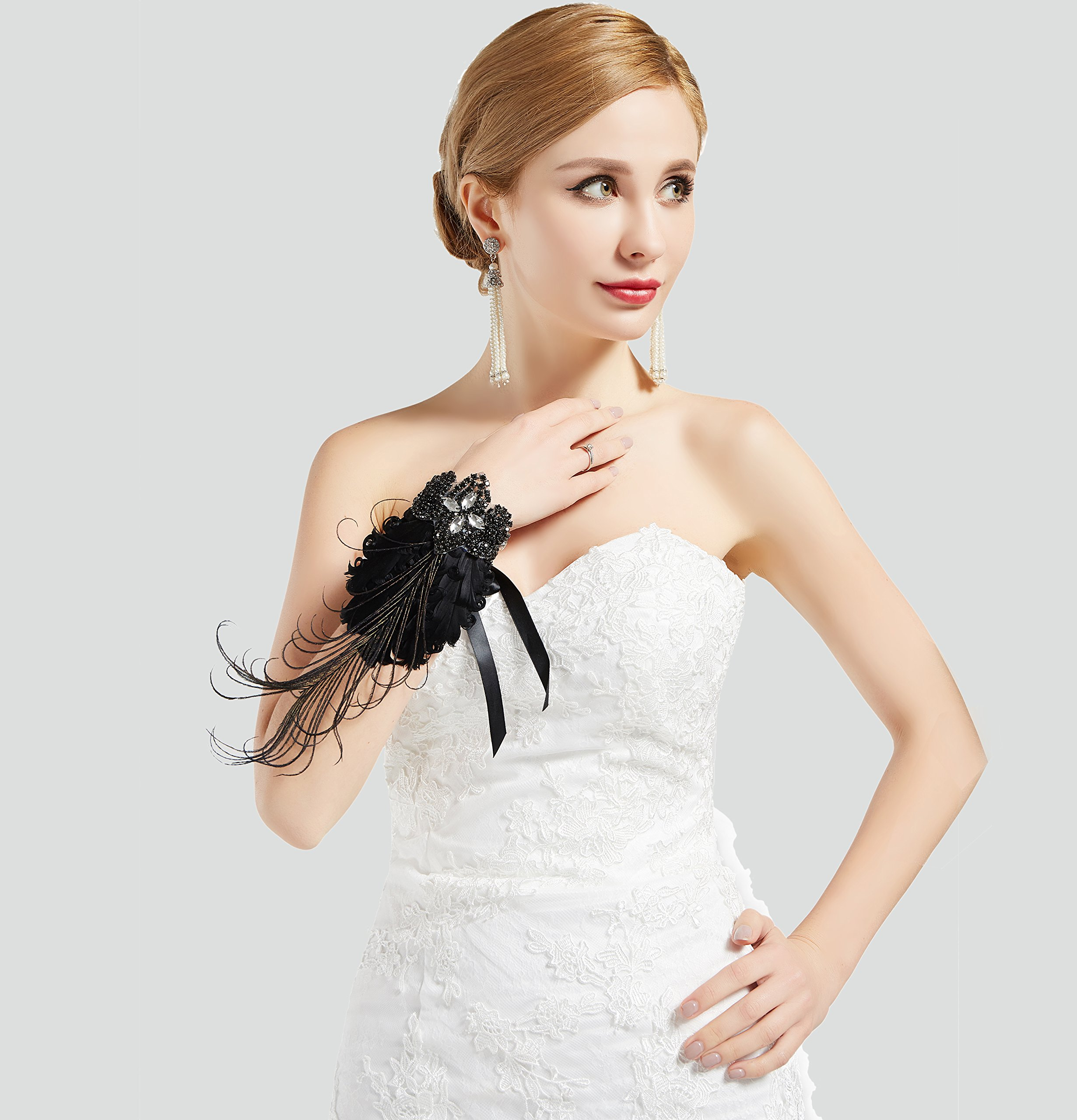 BABEYOND 1920s Wedding Wrist Corsage Gatsby Peacock Feather Bridal Wristband Corsage Roaring 20s Flapper Wedding Costume Accessories (Black by BABEYOND (Image #6)