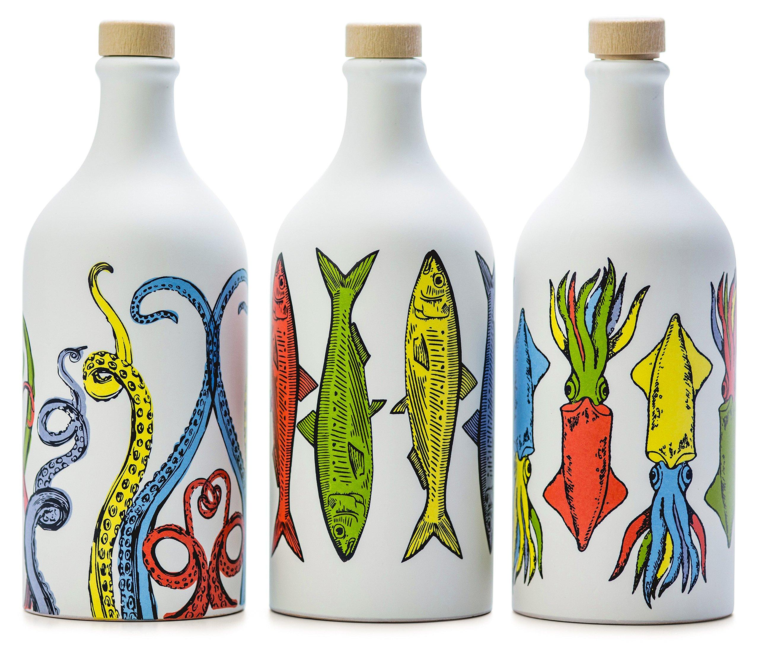 Antico Frantoio Muraglia, Premium Italian Extra Virgin Olive Oil, Pop Art Collection Set of 3: Tentacles, Sardines and Cuttlefish, Collectible Handmade Ceramic Bottles 17 Fl.oz Best Foodie Gift