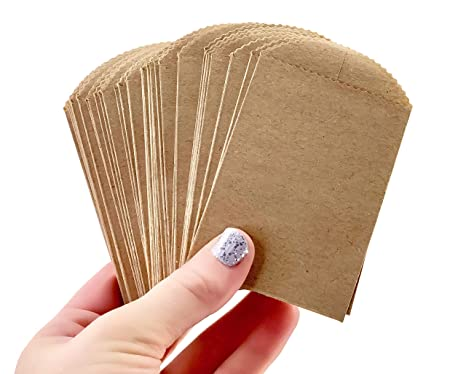 Amazon.com: 50 mini bolsas de papel kraft – 4.0 in x 2.5 in ...