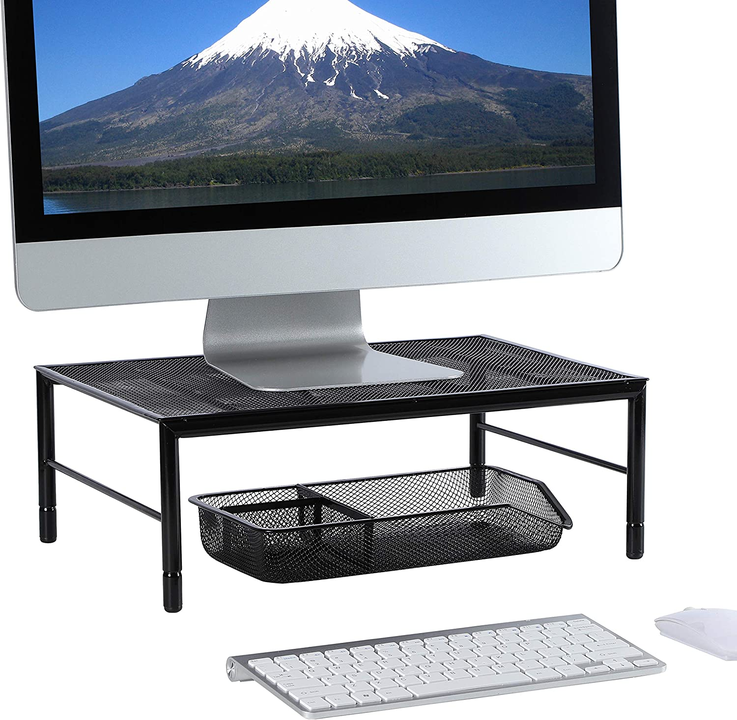 Monitor Stand Riser with Height Adjustable for Computer, Laptop, iMac, Pc, Printer, Desktop Stand Used As Kitchen Cabinet and Counter Shelf Organizer+Mesh Desk Tray Drawer Office Organizer, Black