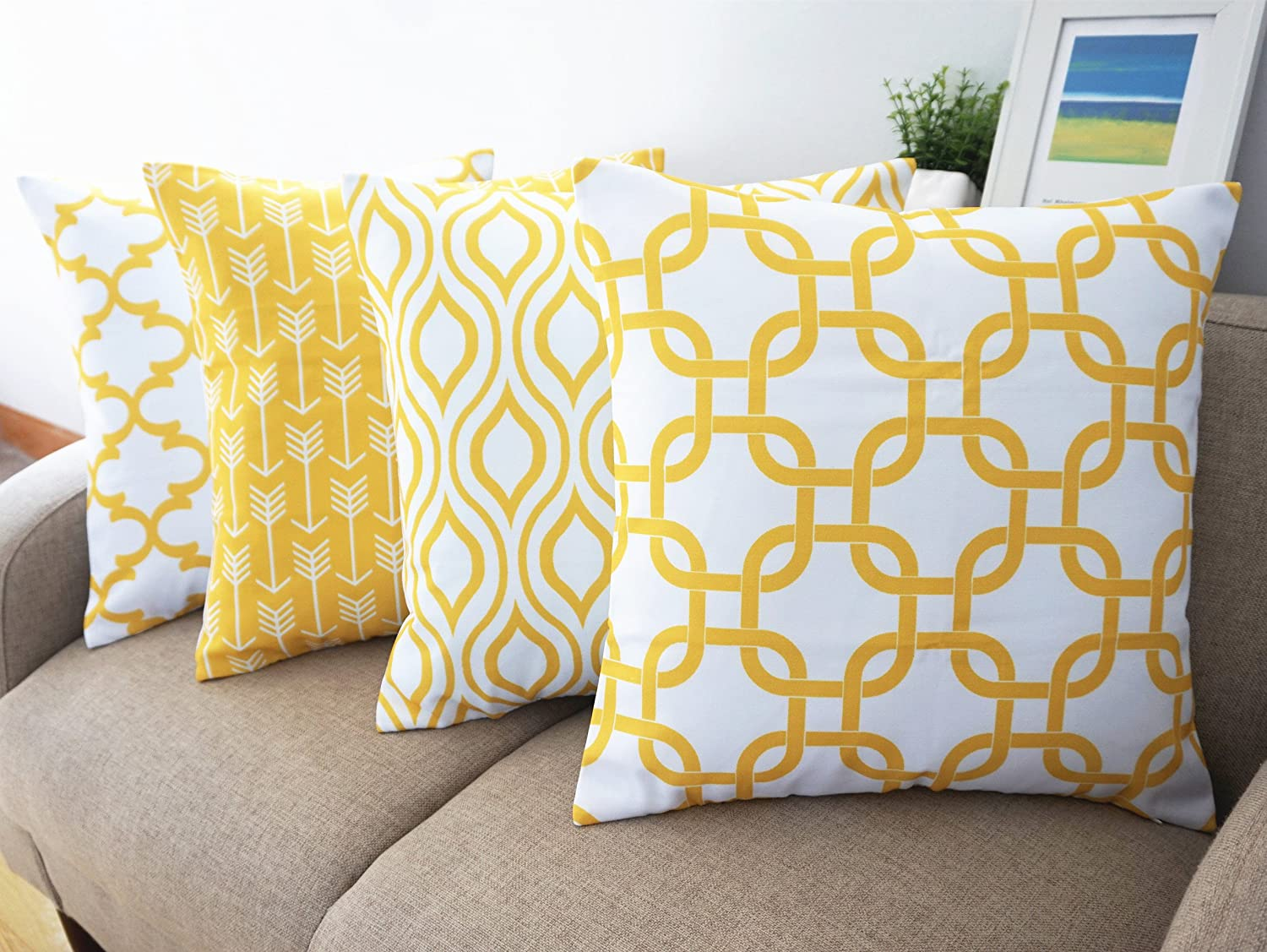 Amazon Com Howarmer Canvas Cotton Throw Pillows Cover For Couch Set Of 4 Lemon Yellow Accent Pattern 18 X 18 Inch Home Kitchen