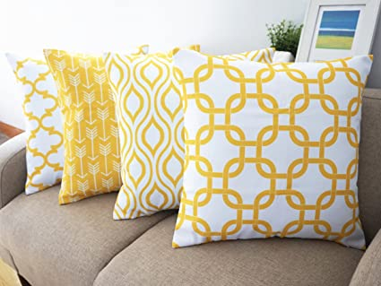 Howarmer Canvas Cotton Throw Pillows Cover For Couch Set Of 4 Lemon Yellow  Accent Pattern 18