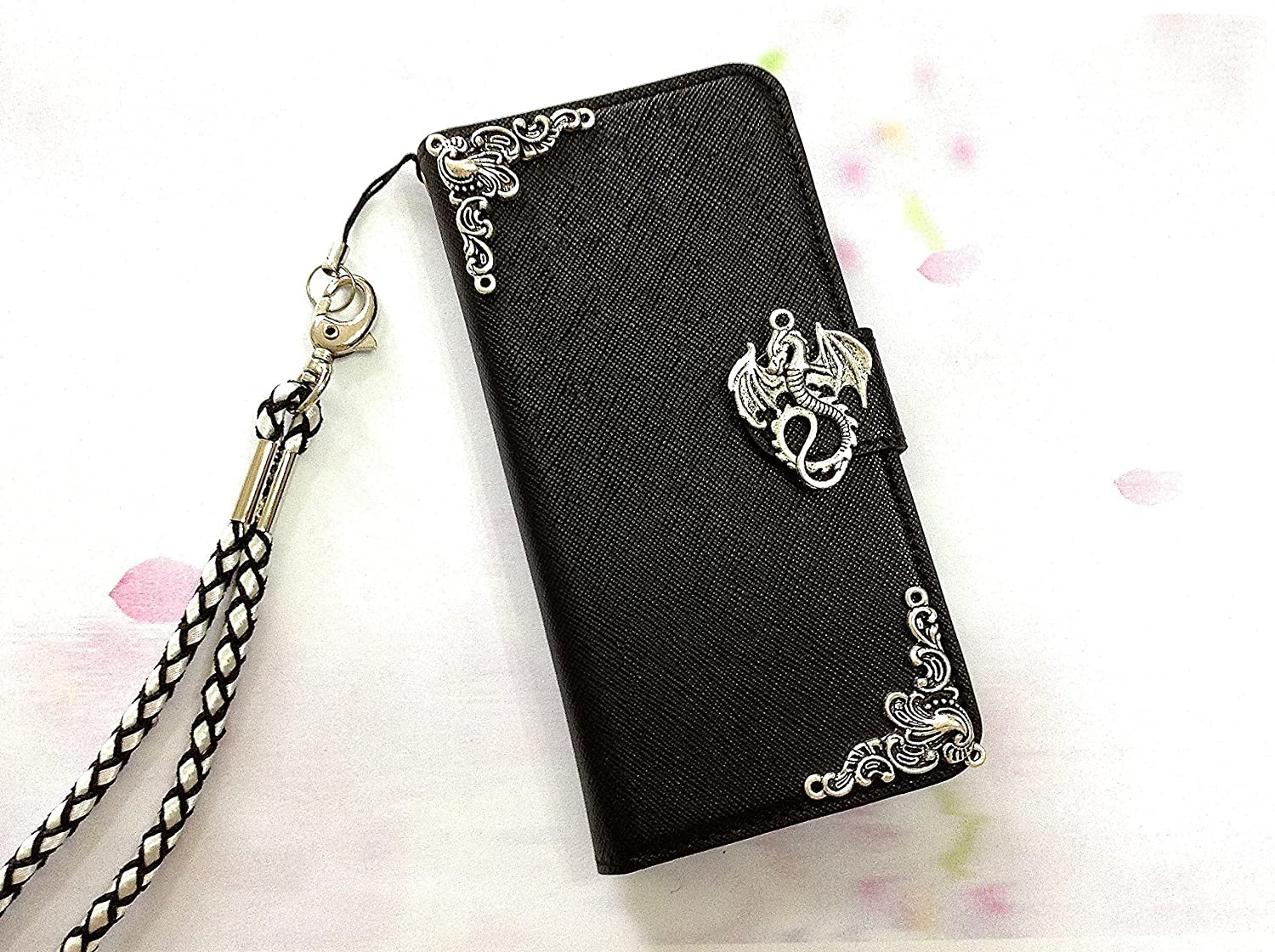 Dragon phone removable leather wallet case handmade phone wallet cover for iPhone X XS XR XS Max SE 5 5s 6 6s 7 8 Plus Samsung S8 S9 Plus S7 Edge Note 8 MN0471