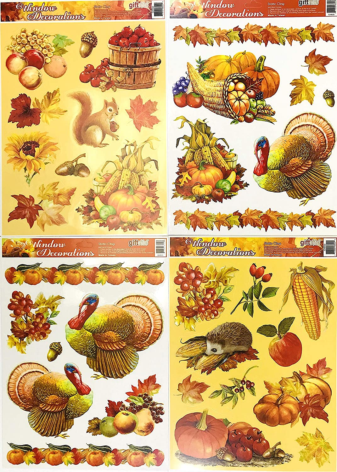 Fall Harvest Vinyl Window Clings: Turkeys Hedgehog Squirrel Pumpkins Apples Leaves and More 4 Sheets (Fall Turkeys)