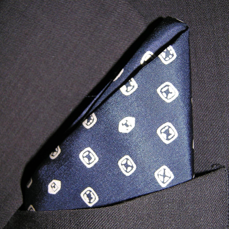 DECO PRINT NAVY Silk Pocket Square Full-Sized 16x16