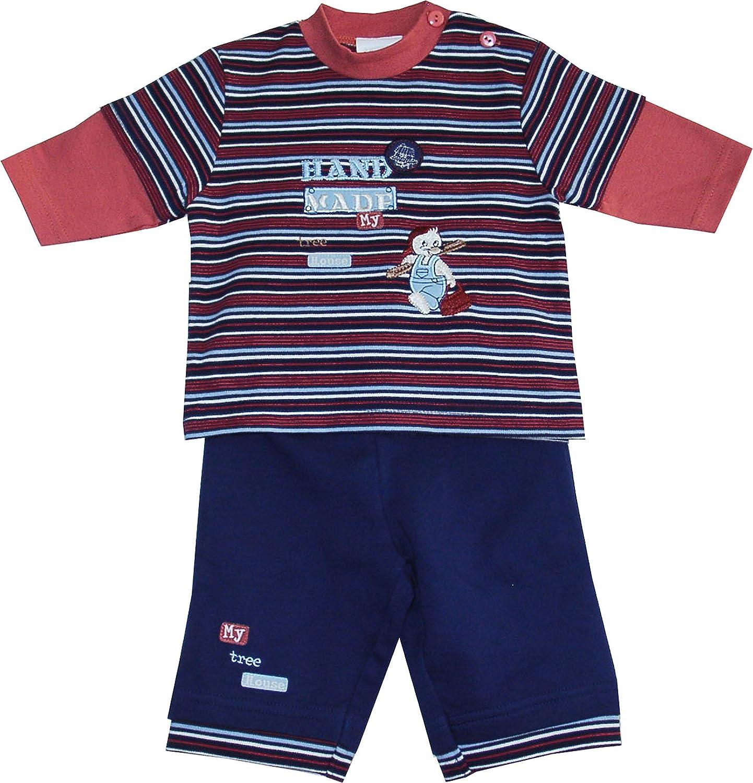Schnizler Unisex Baby Jogginganzug Schlafanzug My Tree House Geringelt
