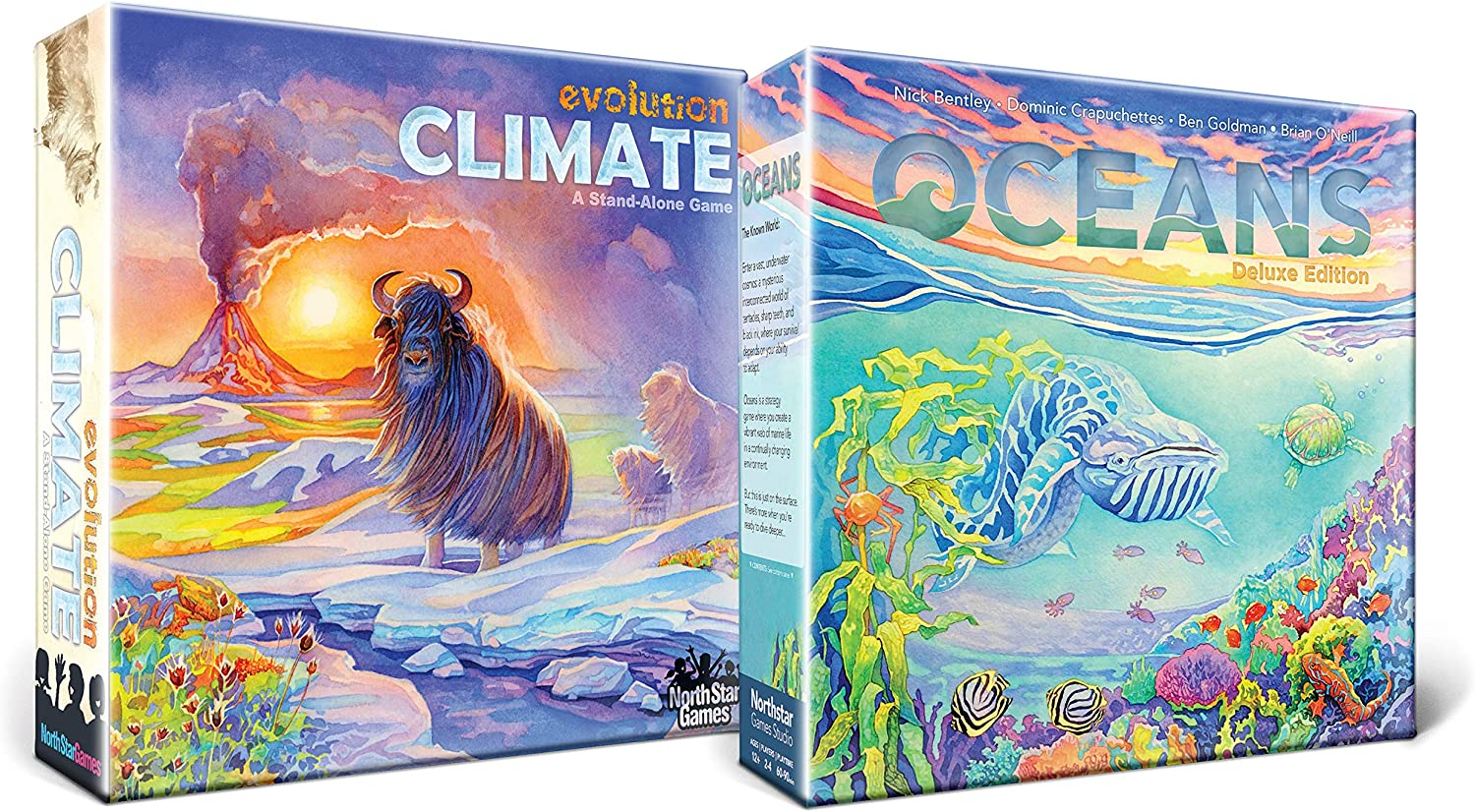 North Star Games Evolution: Climate Game and Oceans Bundle Award-Winning Strategy Games   Evolve You Species; Avoid Predators, Weather Changes and The Deep, Dark Ocean