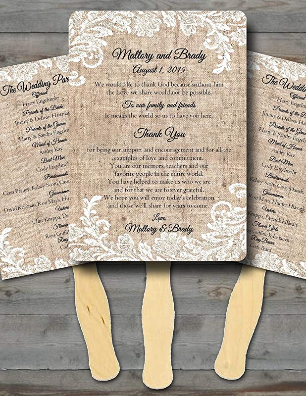 Wedding Program Fans Rustic Wedding Favors One of a Kind Wedding Program Fan Assembled My Wedding Store Countryside Cottage Party Programs