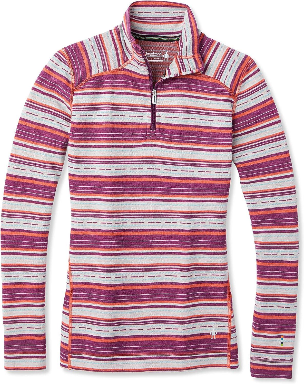 smartwool Merino 250 Baselayer Pattern 1//4 Zip Damen Langarmshirt Damen schwarz