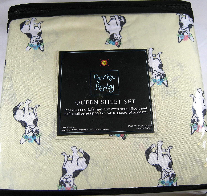 Cynthia Rowely 4 Pc Queen Sheet Set Frenchg Bulldogs 100/% Microfiber