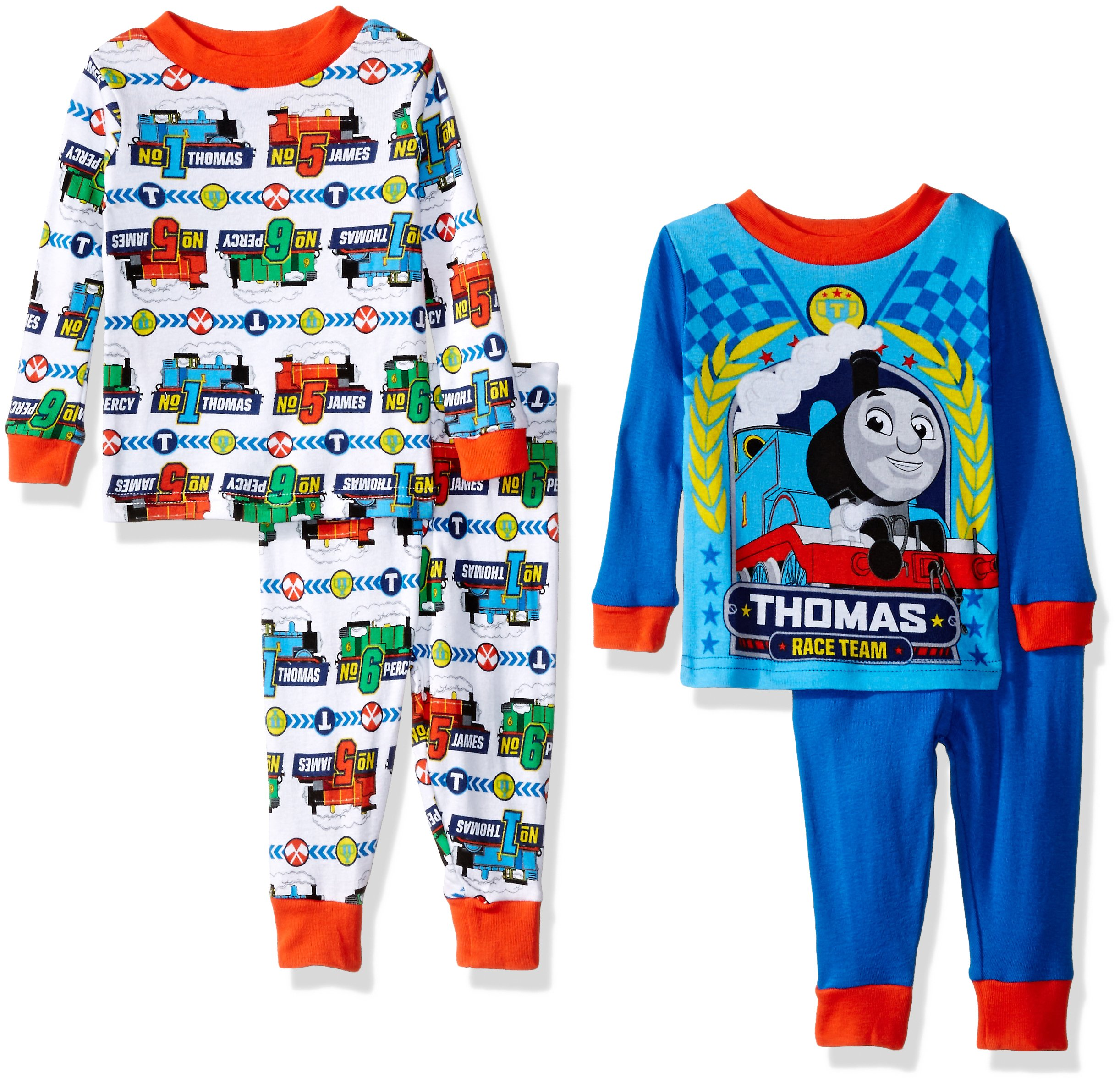 Thomas The Train Boys' 4-Piece Pajama Set, Blue/White, 18 Months