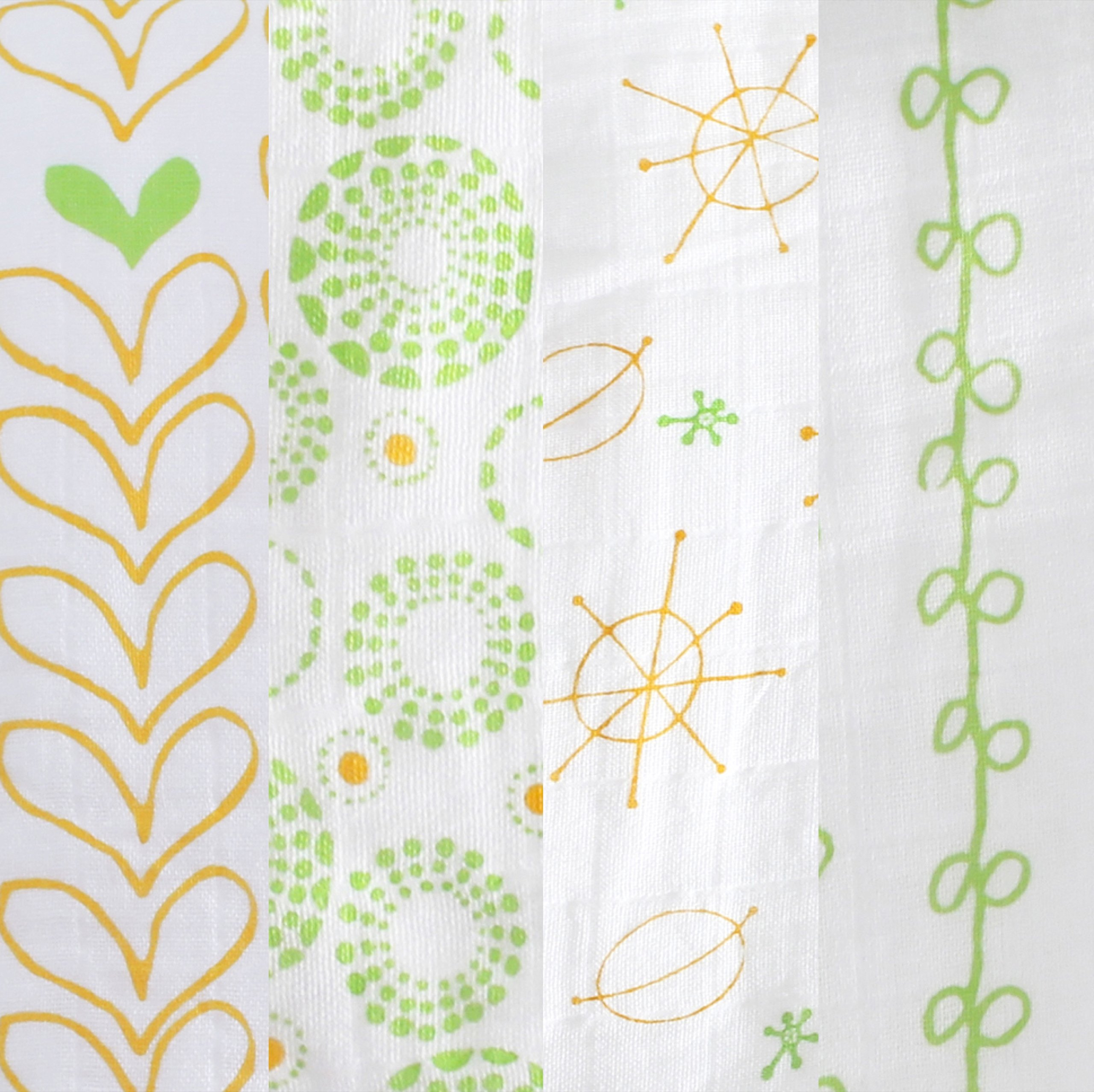 Magnolia Organics 4 Pack Swaddle Blankets - Green/Orange