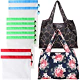 Reusable Produce Bags with Foldable Reusable Grocery Bags Set - 9 Pack Contact Safe Zero Waste See Through Lightweight Washable Mesh Produce Bags with 2 Large Shopping Bags (11 Pack)