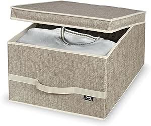 Domopak Maison - Caja de almacenaje (38 x 50 x 24 cm, poliéster, 38 x 50 x 24 cm), color marrón: Amazon.es: Hogar