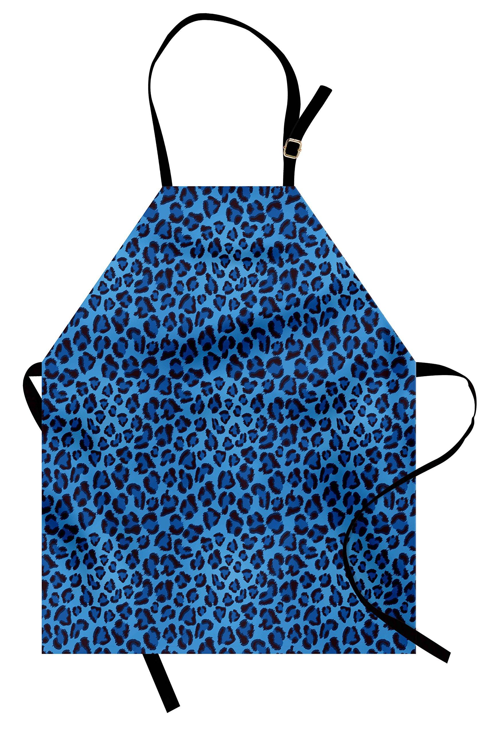 Lunarable Animal Print Decor Apron, Leopard Animal Print Stylized Artistic Design Creative Contemporary Artwork, Unisex Kitchen Bib Apron with Adjustable Neck for Cooking Baking Gardening, Blue