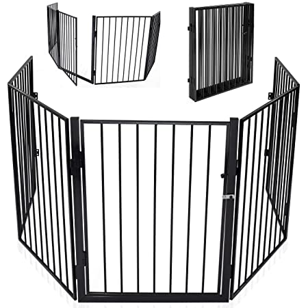KIDUKU® Kaminschutzgitter mit Tür Metall Laufgitter Laufstall Absperrgitter Türschutzgitter für Kinder-Sicherung, 300 cm Läng