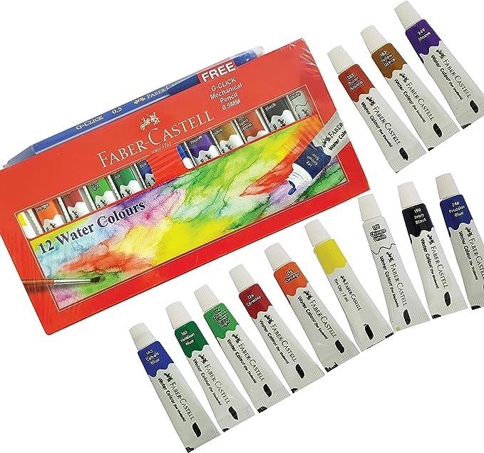 FABER CASTELL - 12 x 5 ml Tubos de pinturas de acuarela + Portaminas gratis: Amazon.es: Hogar