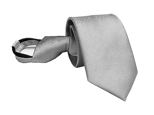 Corbata con cierre de clip, color sólido, para hombre y niño ...