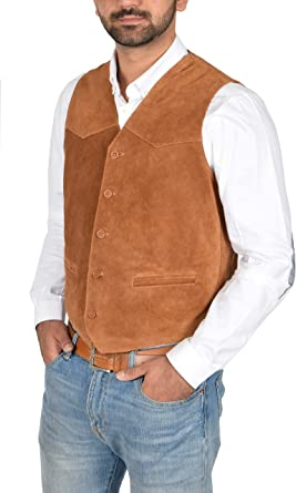 Mens New Brown Tan Suede Leather Smart Five Button Classic Traditional Waistcoat