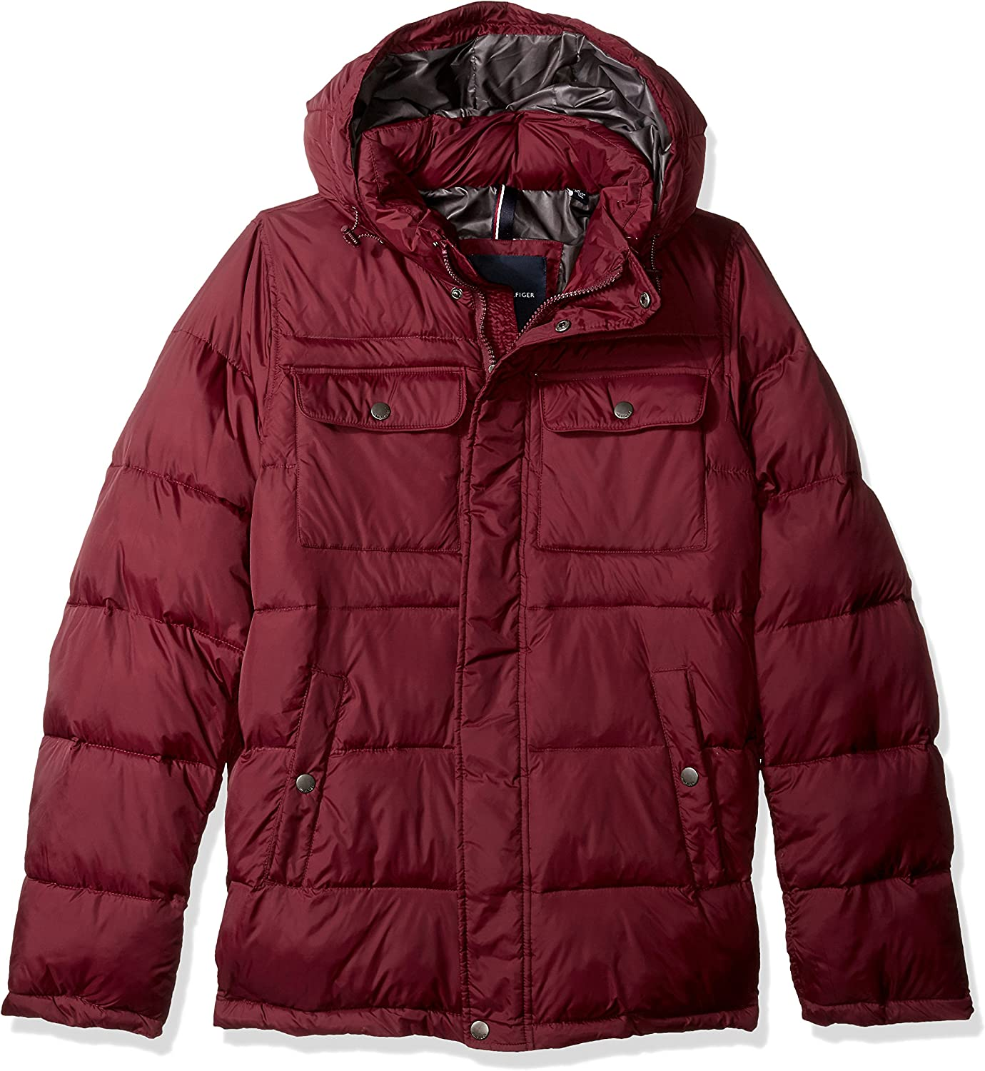 Tommy Hilfiger Mens Nylon Two Pocket Hooded Puffer Jacket Regular, Big, and Tall