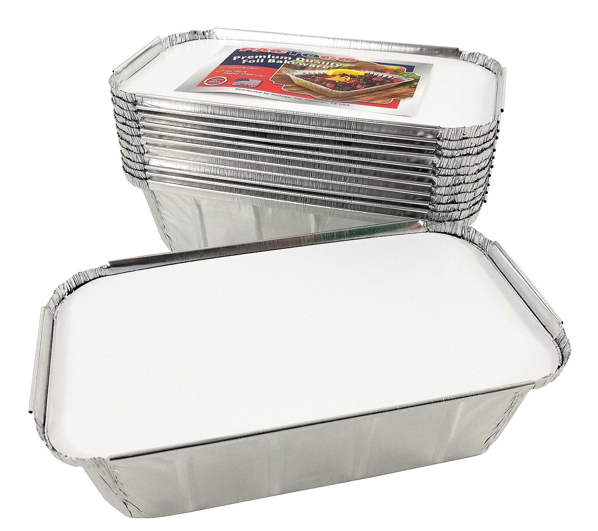 Pactogo 1 1/2 lb. IVC Disposable Aluminum Foil Loaf Bread Pan w/Board Lid (8'' x 4.1'' x 2.2'') - Heavy Duty Made in USA (Pack of 50 Sets) by PACTOGO (Image #7)