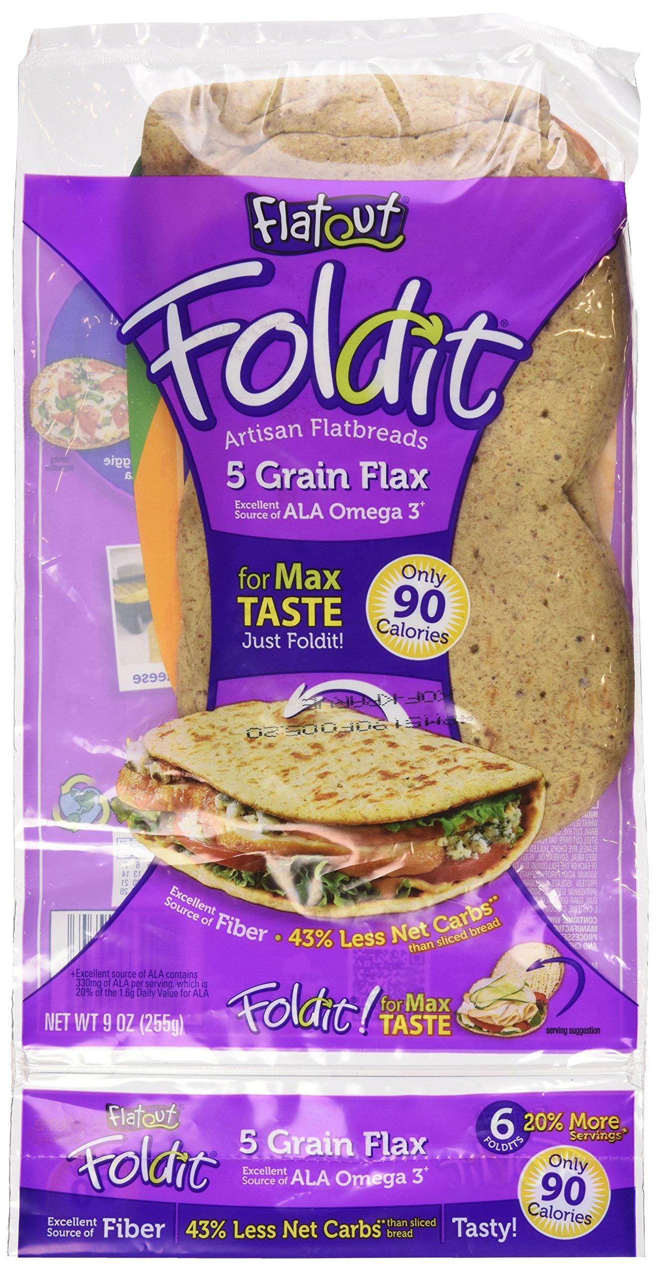 Flatout Fold It Artisan Flatbread, 5 Grain Flax, 9 Oz - 4 Pack