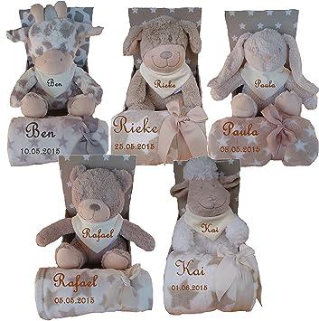 Baby Geschenkset aus Babydecke mit Namen bestickt inkl Stofftier Teddy Hund