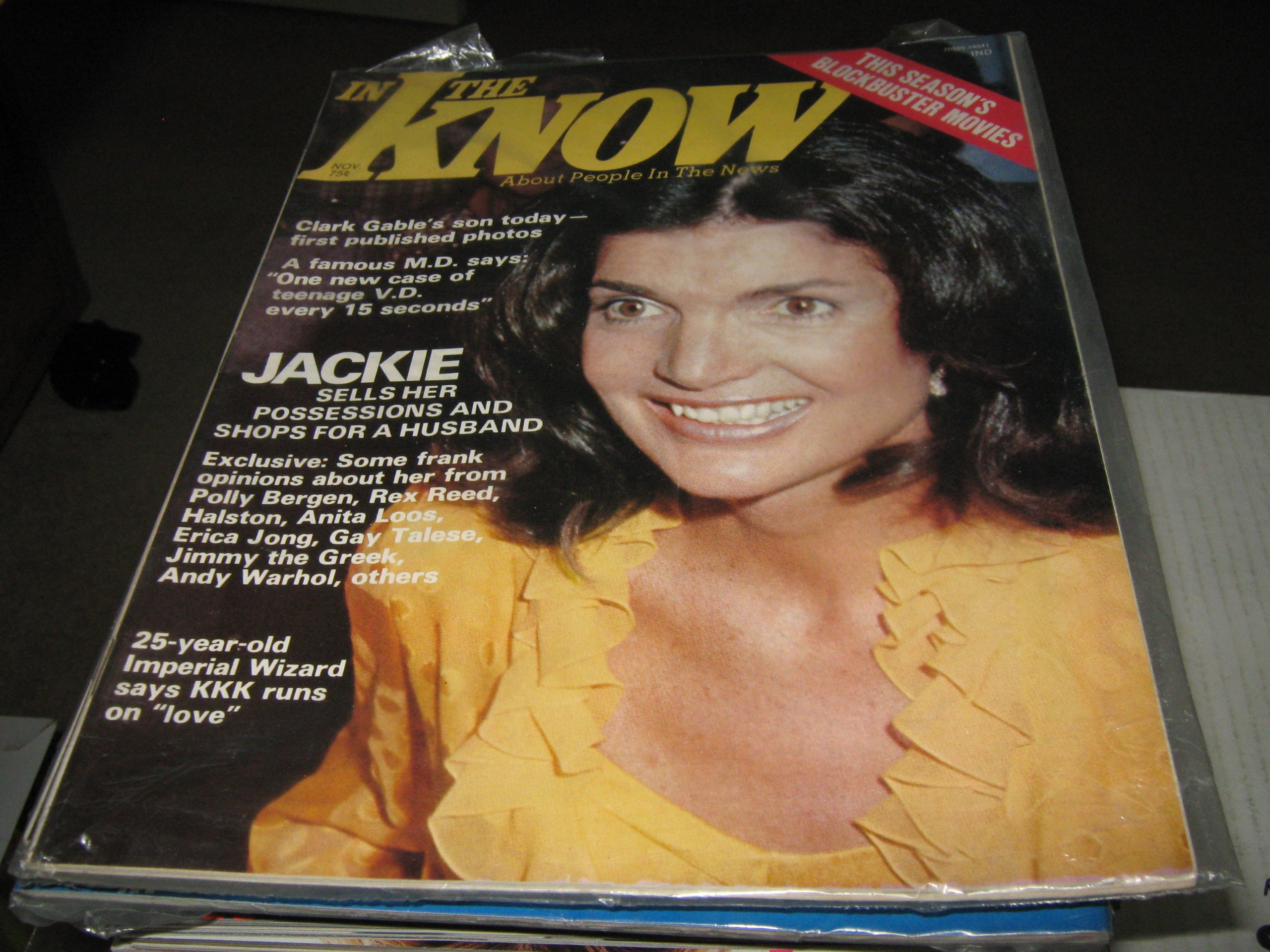 in the know magazine jackie o clark gables son teenage vd andy warhol november 1975
