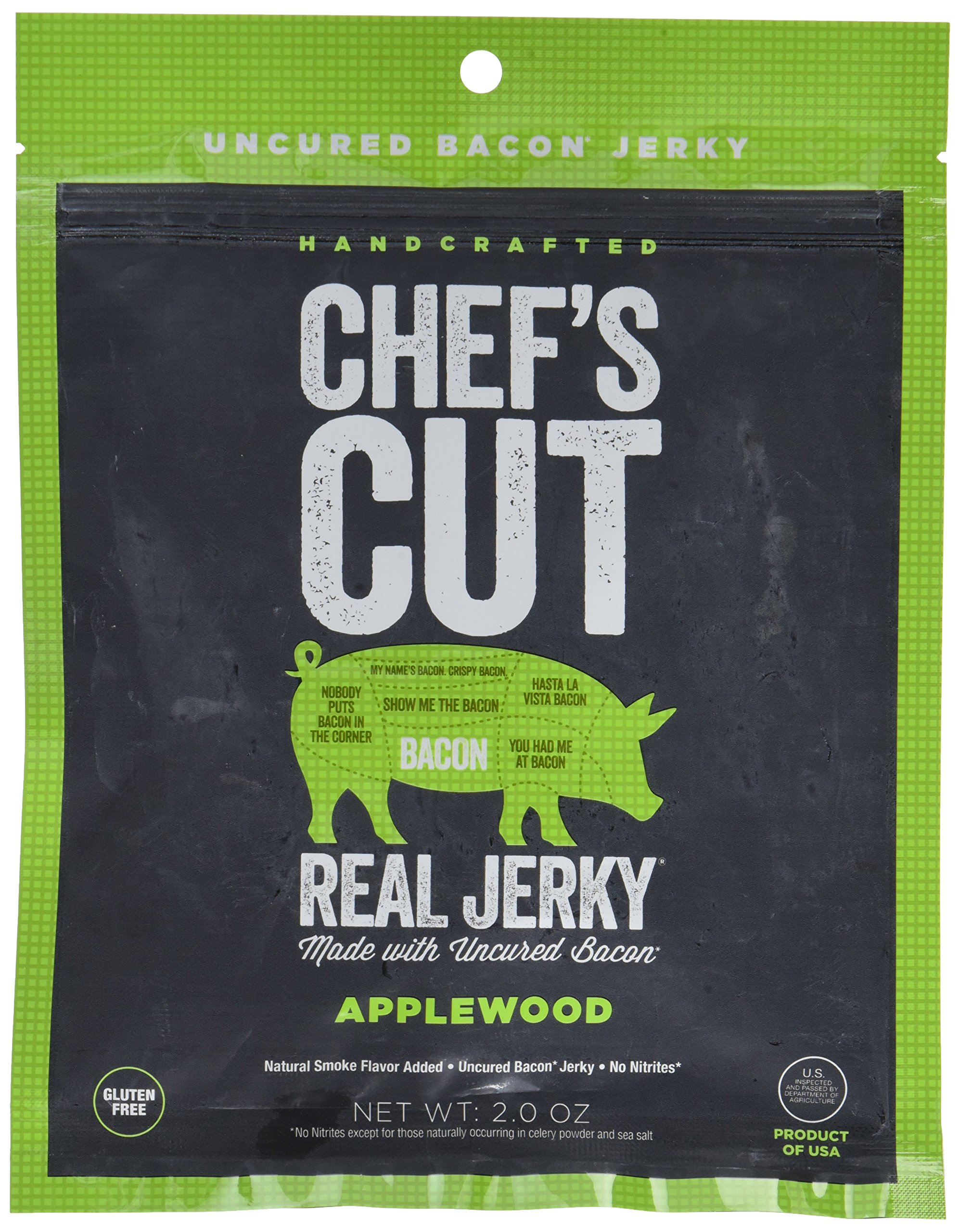 Chef's Cut Tender Real Bacon Jerky, Applewood, 2 Ounce (Pack of 4)