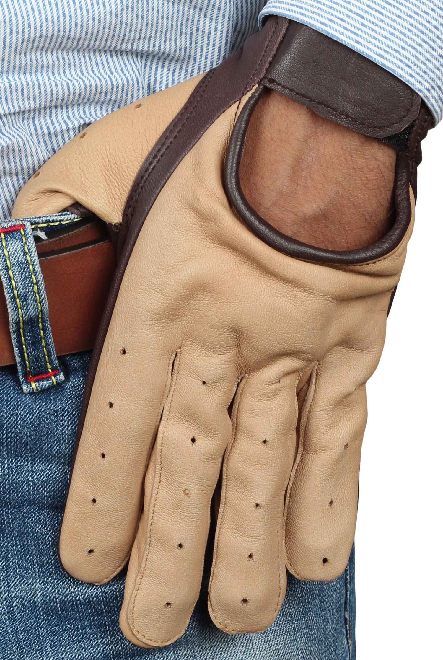 Star Wars Han Solo Leather Gloves - Mens Two Tone Perforation Gloves By Miracle (XL)