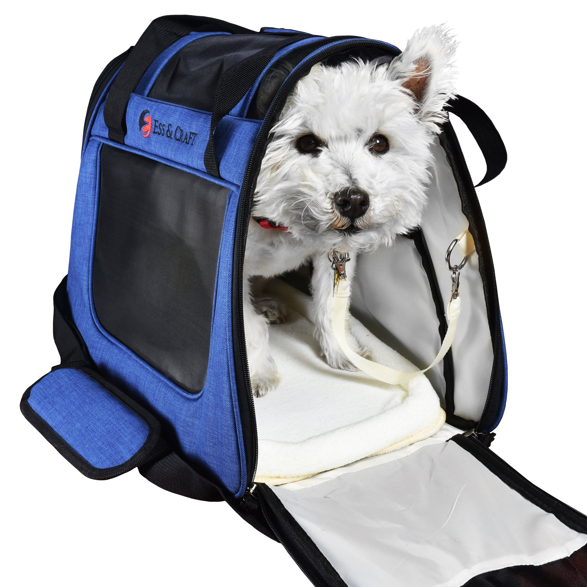 Ess and Craft Pet Carrier 2 Tone Blue Airline Approved | Side Loading Travel Bag with Sturdy Bottom & Fleece Bed | Ventilated Pouch with Top Comfy Handle & Zipper Locks | for Dogs, Cats, Small Pets