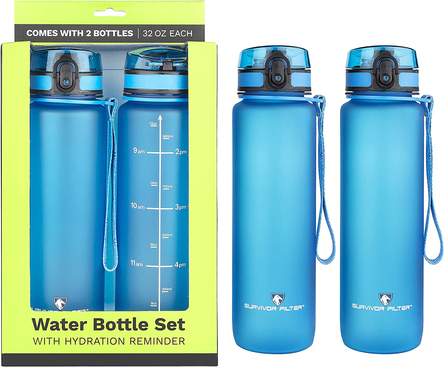 Survivor Sports Water Bottles 32oz – 2 Bottle Set 2 Liters Total Note Not a Water Filter with Leakproof Quick-Lock Lids, Hydration Reminder and Convenient Carry Straps – BPA Free