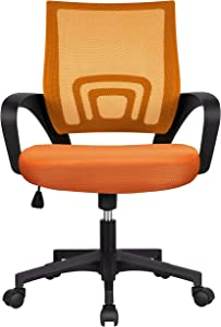 YAHEETECH Mesh Task Chair Mid-Back Office Chairs, Executive Adjustable Stool Rolling Swivel Chair Orange