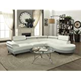 Contemporary Beautiful Bobkona 2pcs Sectional Sofa Chaise White & Grey Faux Leather Chrome Legs Flip up Headrest Living Room Furniture