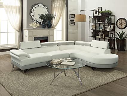 Contemporary Beautiful Bobkona 2pcs Sectional Sofa Chaise White U0026 Grey Faux  Leather Chrome Legs Flip Up