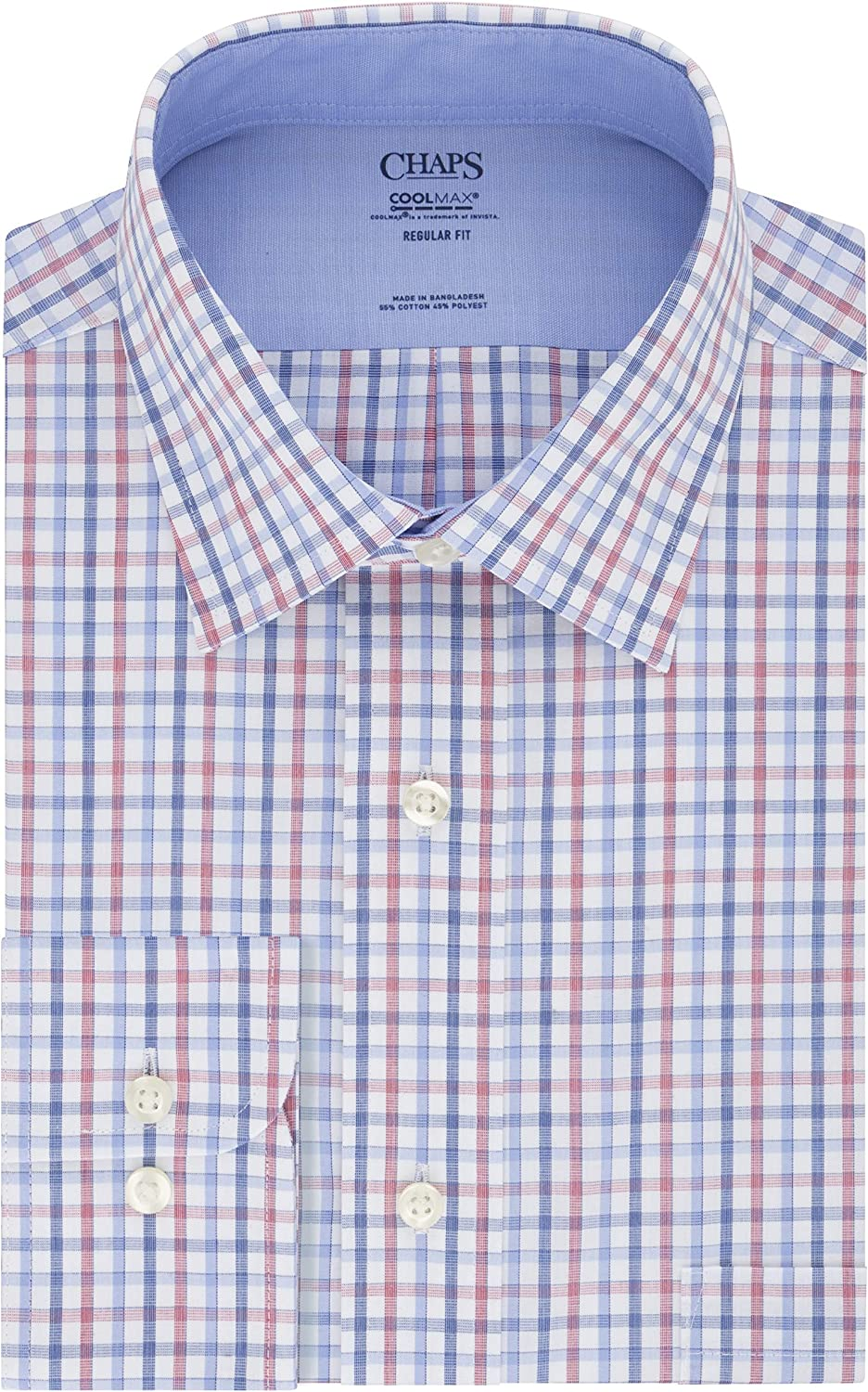 Chaps Men's Dress Shirt Regular Fit Stretch Collar Cool Max Check