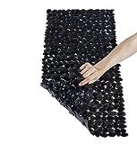 NTTR Anti-Slip Anti-Bacterial Stone Bath Mats,Slip-Resistant Shower Mats(Clear Black,16 W x 35 L Inches)