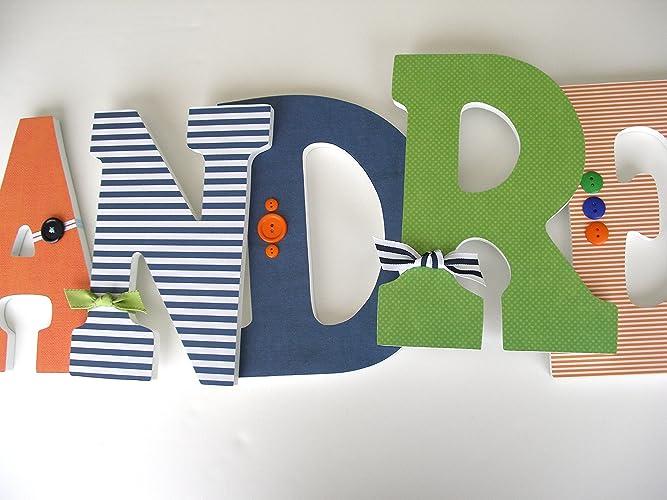 Amazon.com: Navy Blue, Orange, and Green Custom Wooden ...