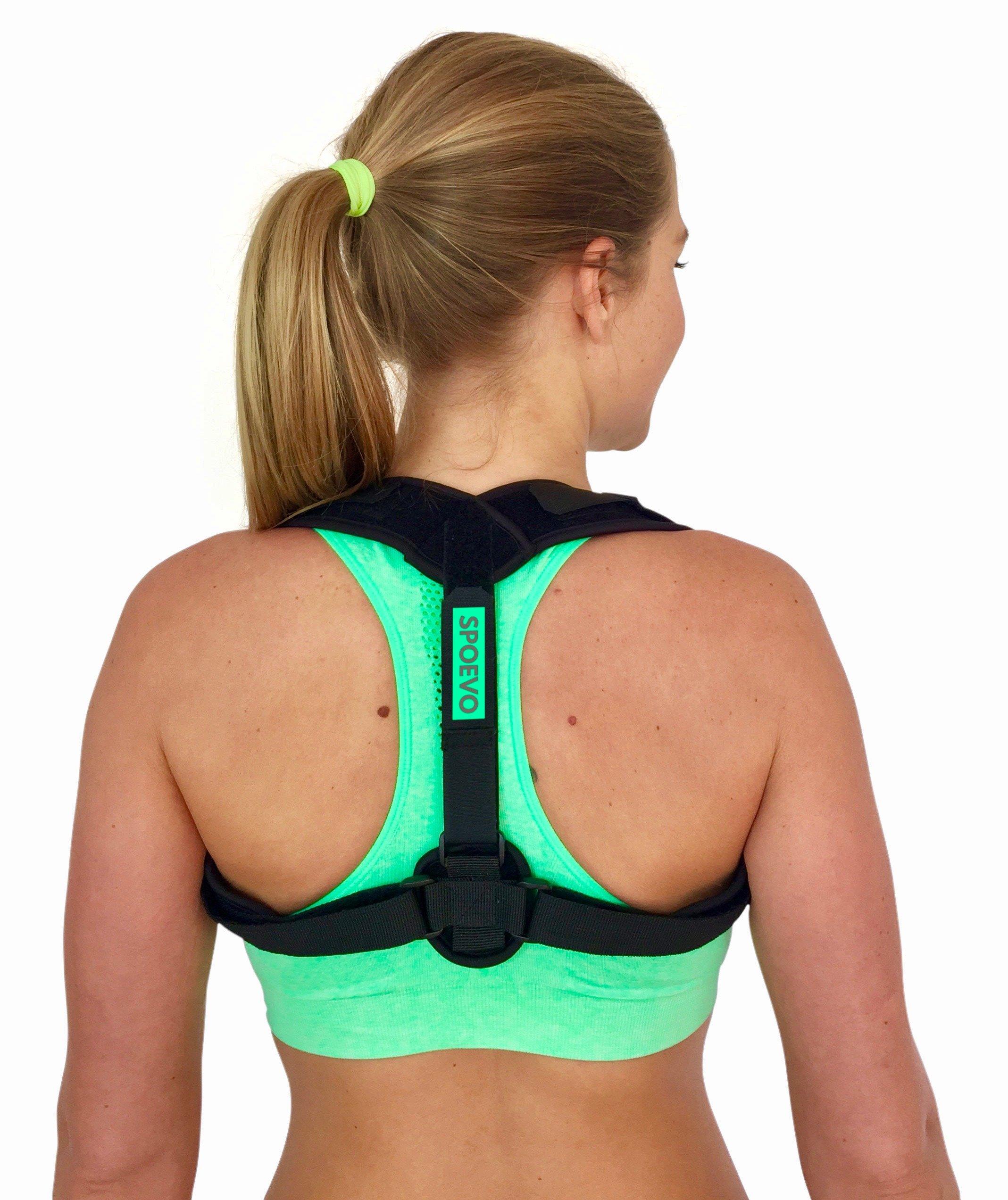 SPOEVO Back Posture Corrector for Women & Men - Bundle Includes Massage Ball & Resistance Band with Back Straightener Posture Brace for Natural Spine Alignment