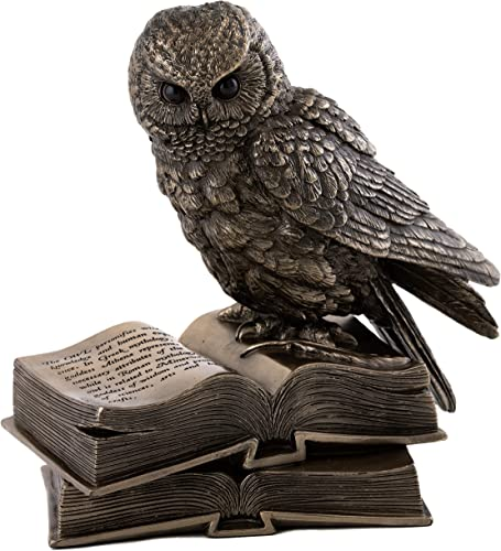 Top Collection Owl on Book Statue – Great Horned Owl Sculpture in Premium Cold Cast Bronze- 6.25-Inch Collectible Animal Figurine