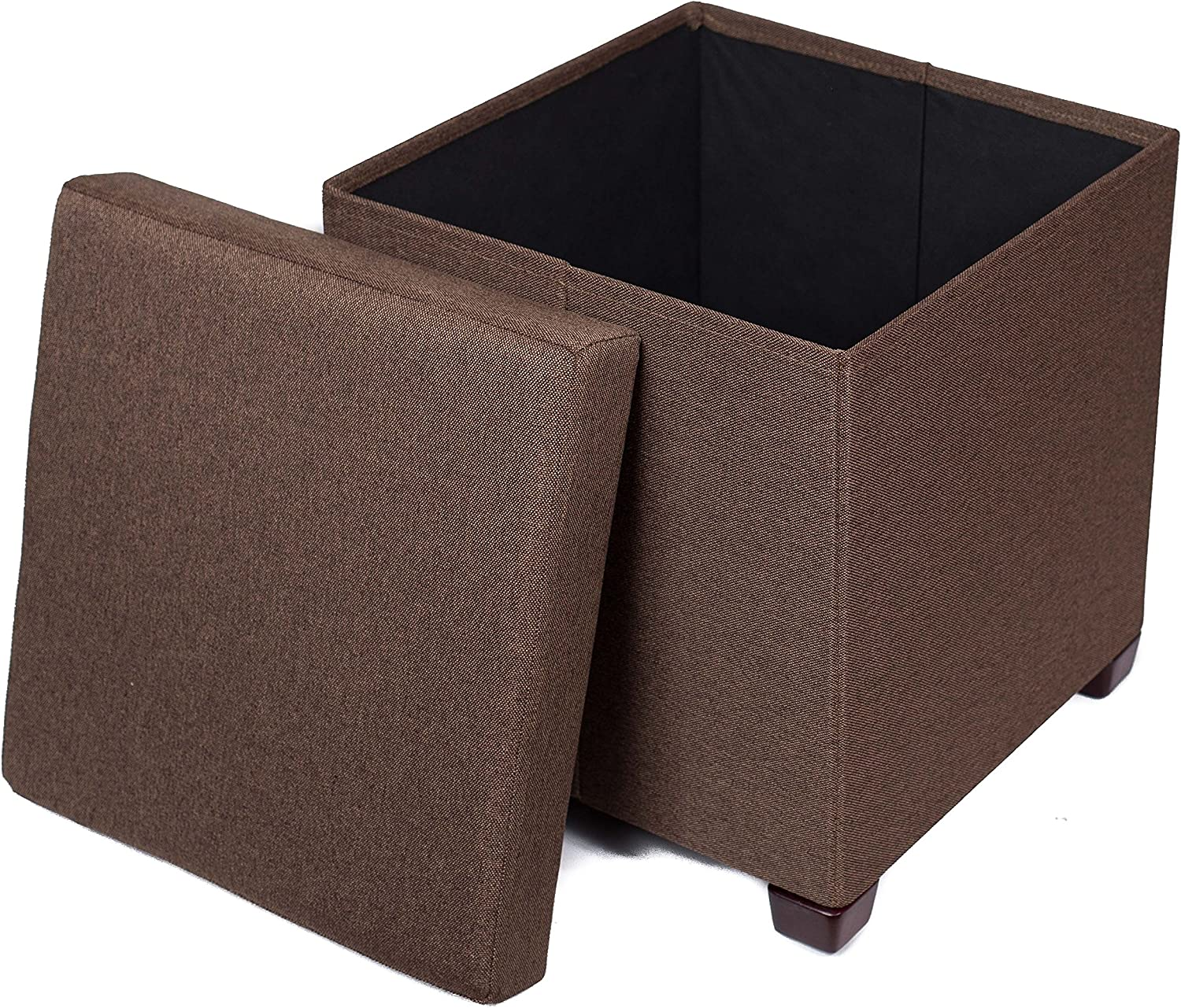 BIRDROCK HOME Folding Storage Ottoman with Legs - Upholstered - 16 x 16 - Linen - Strong and Sturdy - Quick and Easy Assembly - Foot Stool - Brown