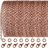 TecUnite 33 Feet Antique Red Copper Chain Link Necklace with 30 Pieces Jump Rings and 20 Pieces Clasps for DIY Jewelry Making (2.5mm)
