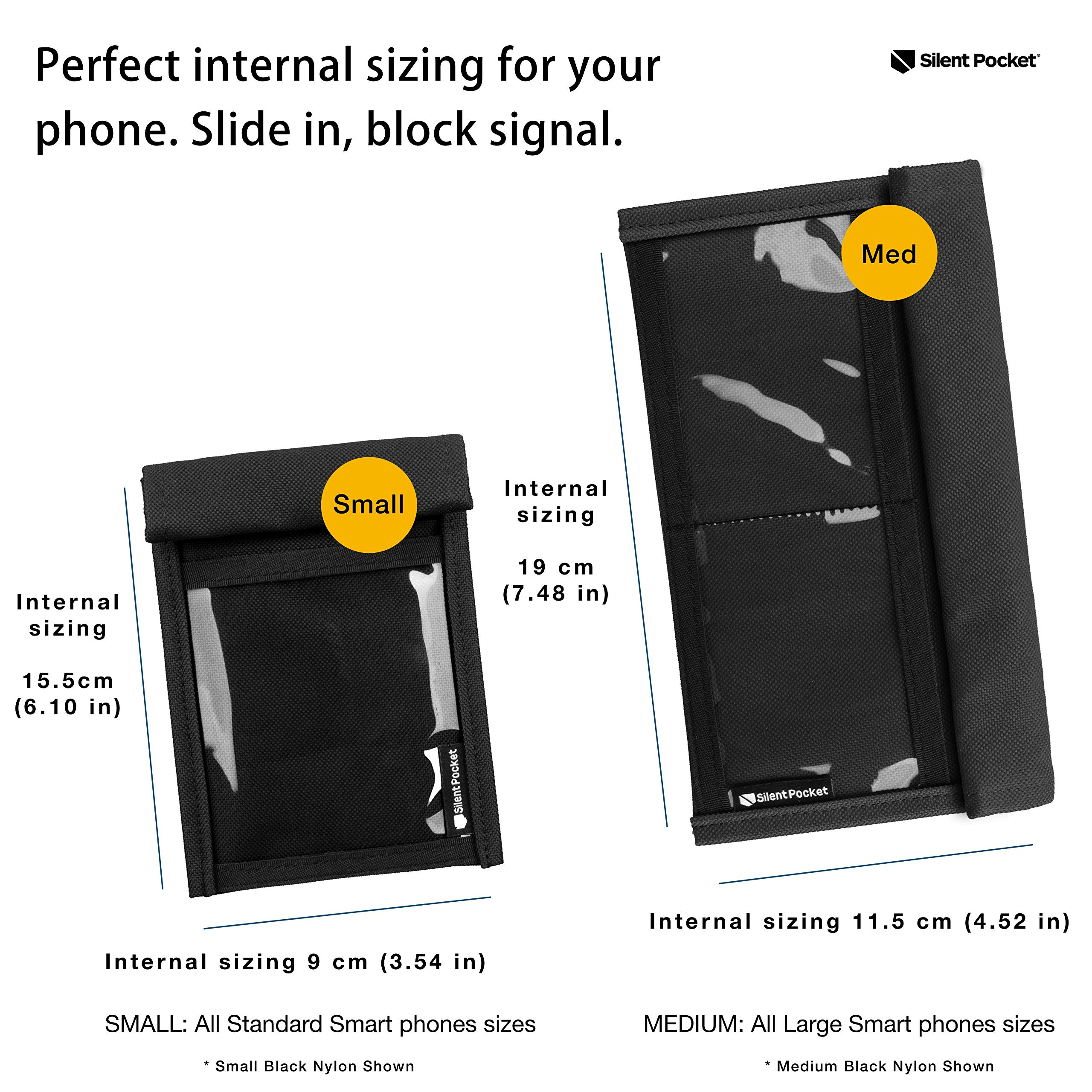 Privacy Device Shielding for Smartphones Multiple Colors Samsung Galaxy Anti-Hacking iPhone Silent Pocket Quick Access Utility Faraday Bag More for Travel Waterproof Signal Blocking Nylon