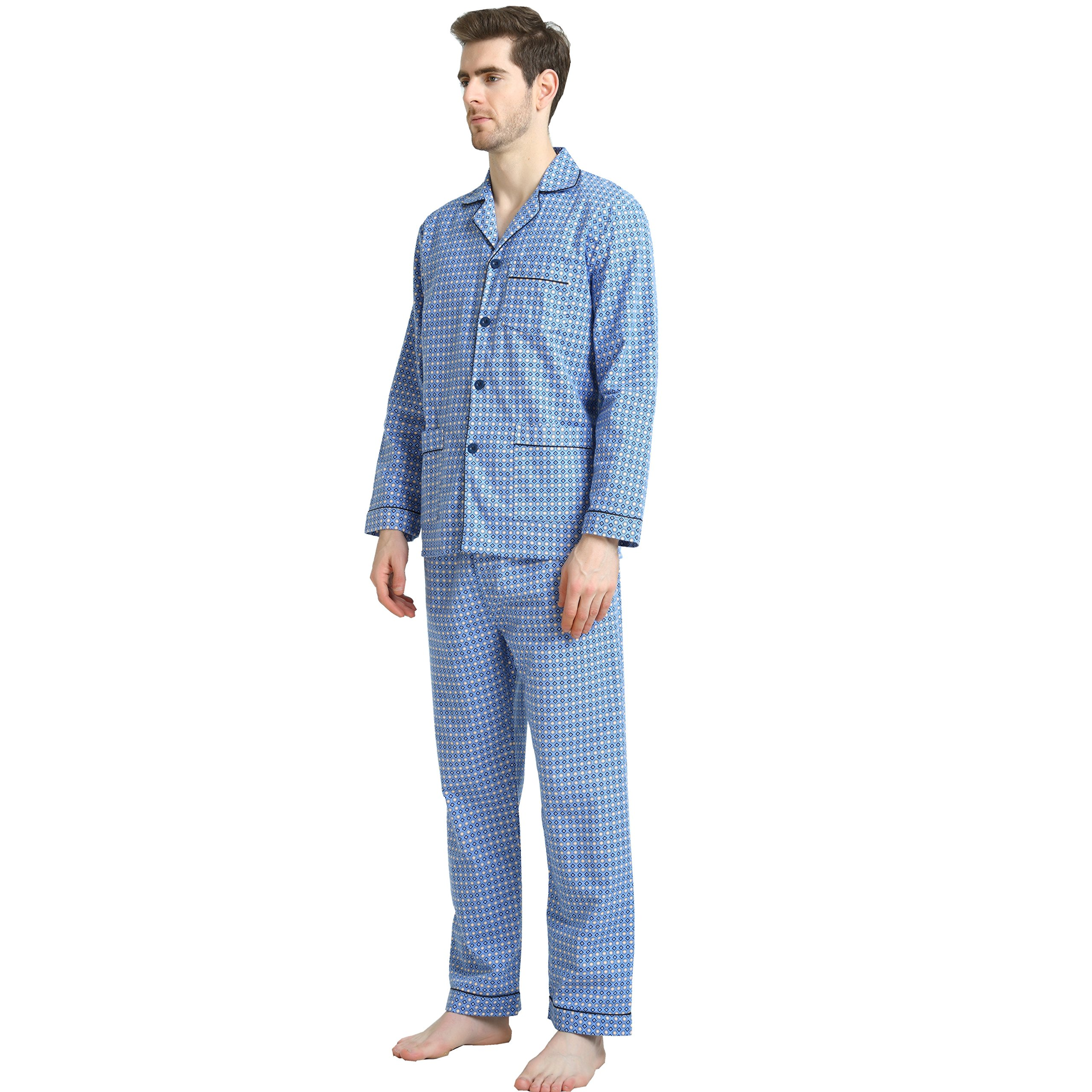 Cotton Sleepwear/Loungewear Sets for Men,100% Fleece Warm Pj Top and Bottom by GLOBAL (Image #4)