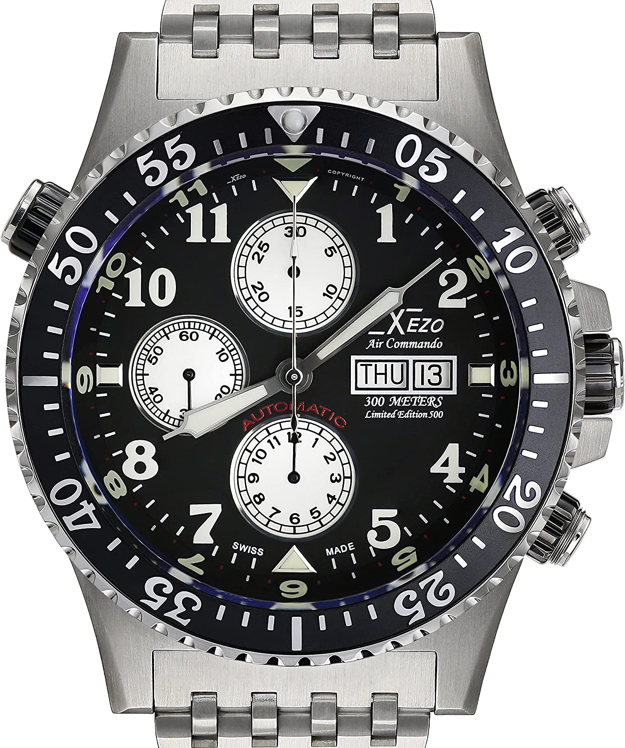 Xezo Men s Air Commando Diver, Pilot Swiss Automatic Valjoux 7750 Chronograph Wrist Watch. 2nd Time Zone. All Solid Steel. Diamond-Cut Numbers. Waterproof 30 Bars